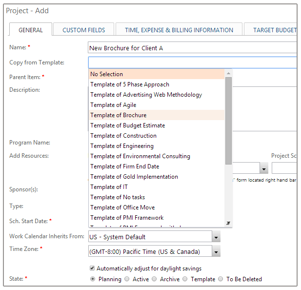 Add Existing Projects from Templates