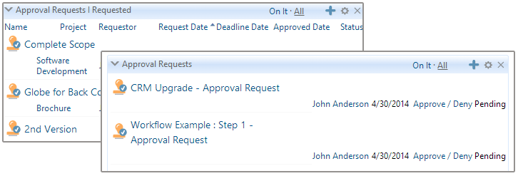 Approvals on Dashboard