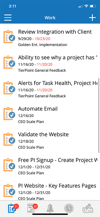 Project Insight Mobile App Work List