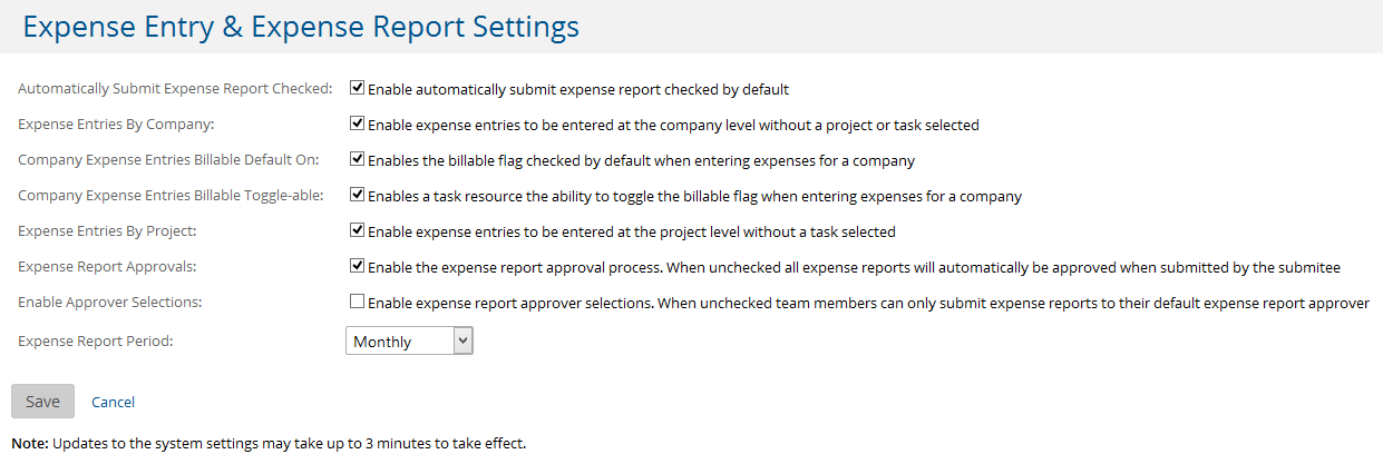 administration for expenses project insight help center