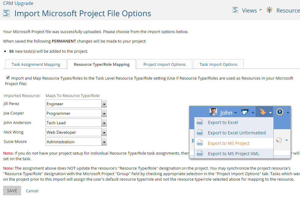 Microsoft Project Import & Export
