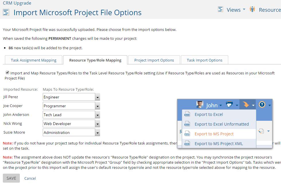 microsoft project import export